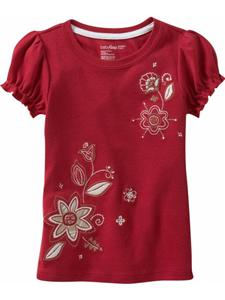 NEW GAP Girls Red Short Sleeve Shirt R with stitched Flowers size 5