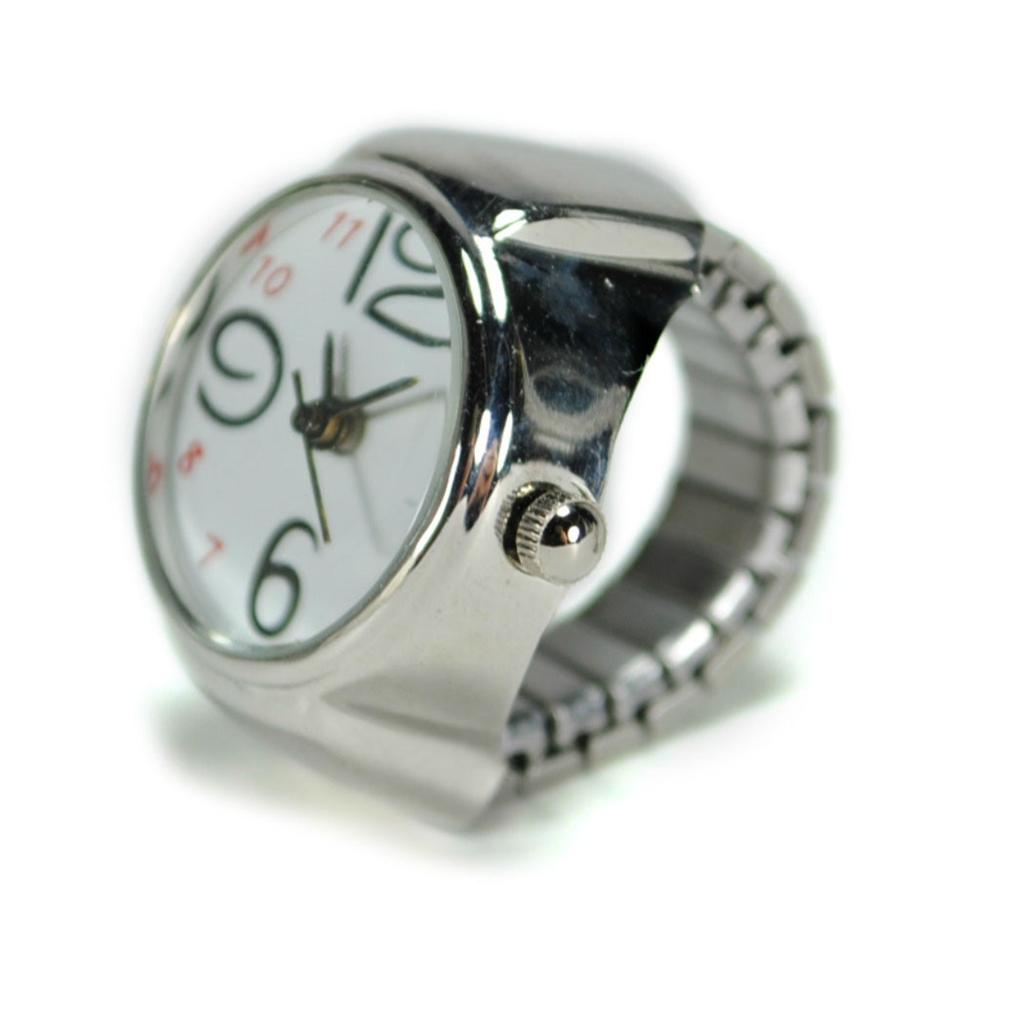 WATCH RING Finger Stretch Band Chrome Time Jewelry NEW Large Number USA SELLER