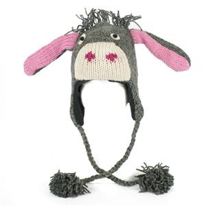 Knitting Pattern For Donkey Hat : DONKEY ANIMAL HAT ADULT Warm Lined Knit Laplander Ski Cap ...