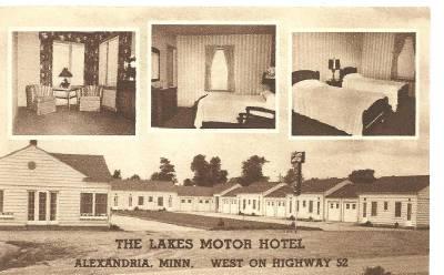 Postcard Minnesota Alexandria Lakes Motor Hotel Motel
