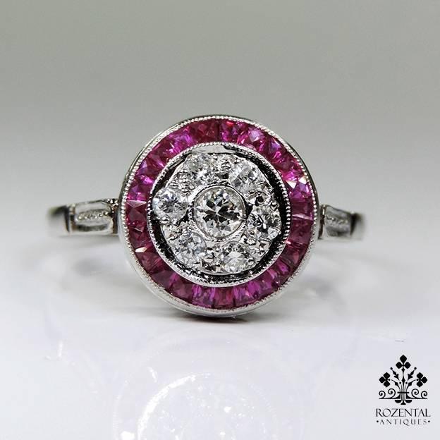 ANTIQUE-ART-DECO-PLATINUM-DIAMOND-RUBY-RING