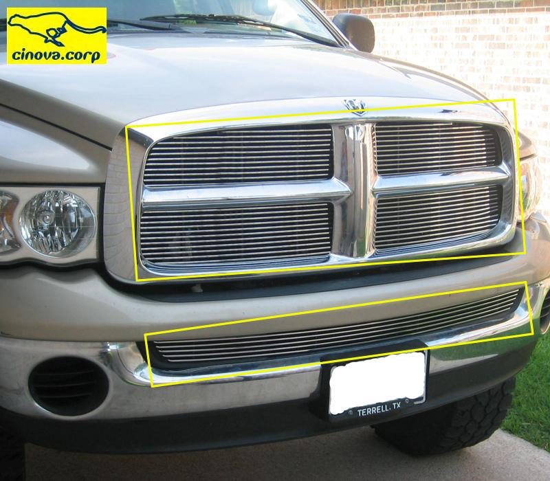 05 04 Dodge RAM Billet Grille Combo Grill Upper Lower 03 02 EZ Overlay