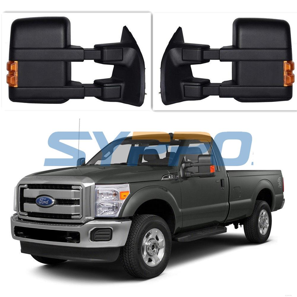99 07 ford f250 f550 super duty towing mirrors power heated led turn signal. Black Bedroom Furniture Sets. Home Design Ideas