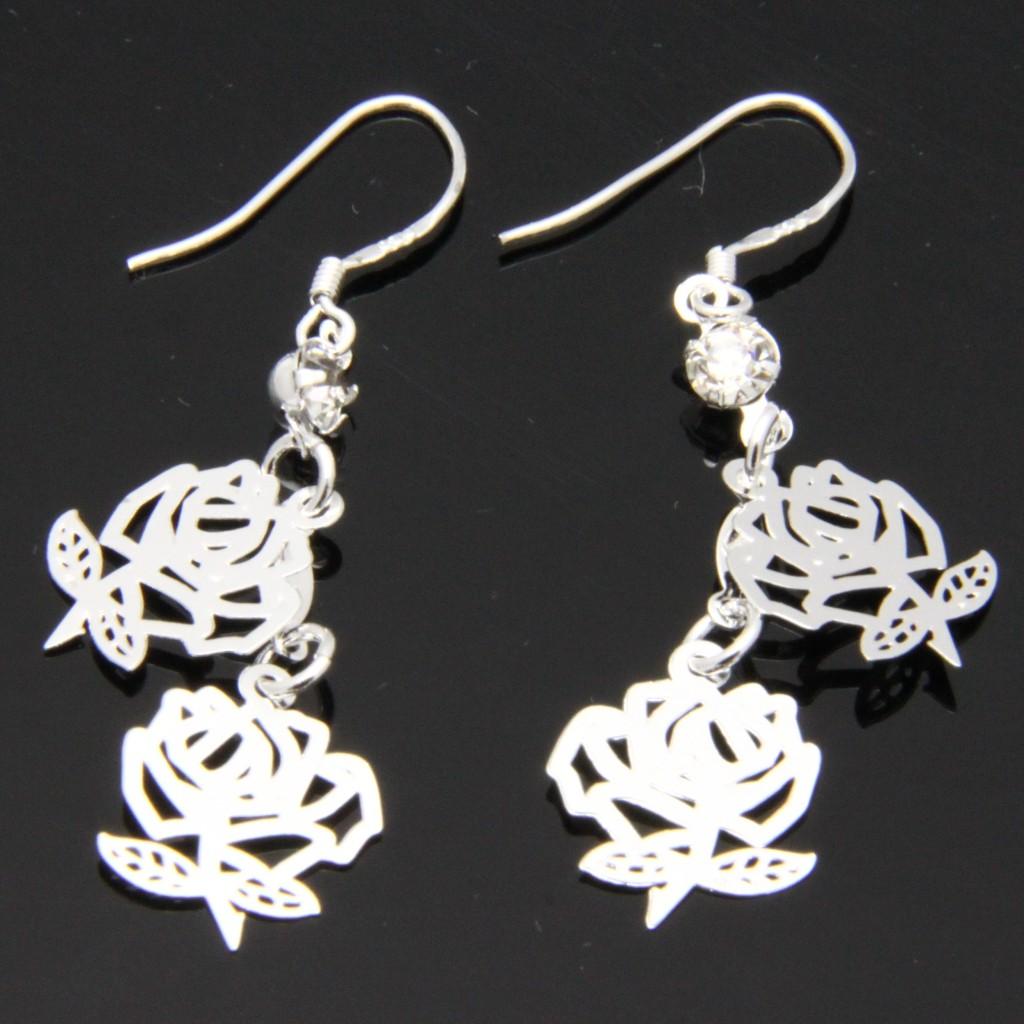 925 sterling silver plate allergy free dangle earrings