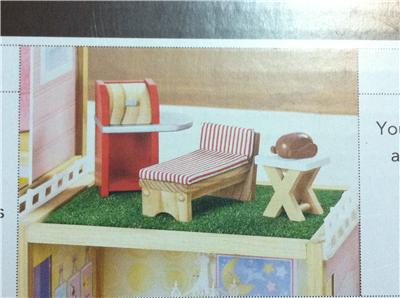 New Play Wonder Wooden Dollhouse Barbie Furniture Patio Set Table Chair Rug Ebay