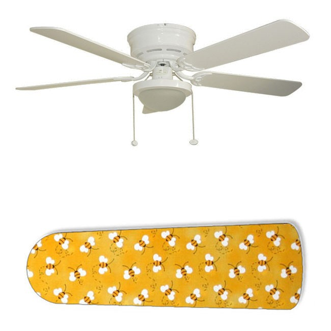 Sweet Yellow Bumble Bees 52& 34 Ceiling Fan with Lamp