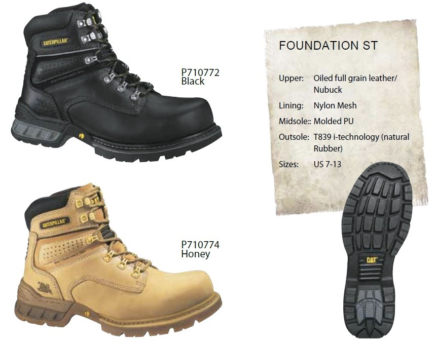 New 100% Genuine Caterpillar Mens Safety Work Boot Shoe Foundation St Steel Toe | EBay