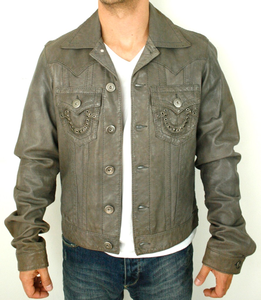 new true religion mens grey leather jacket size m long 30 sleeves ebay. Black Bedroom Furniture Sets. Home Design Ideas
