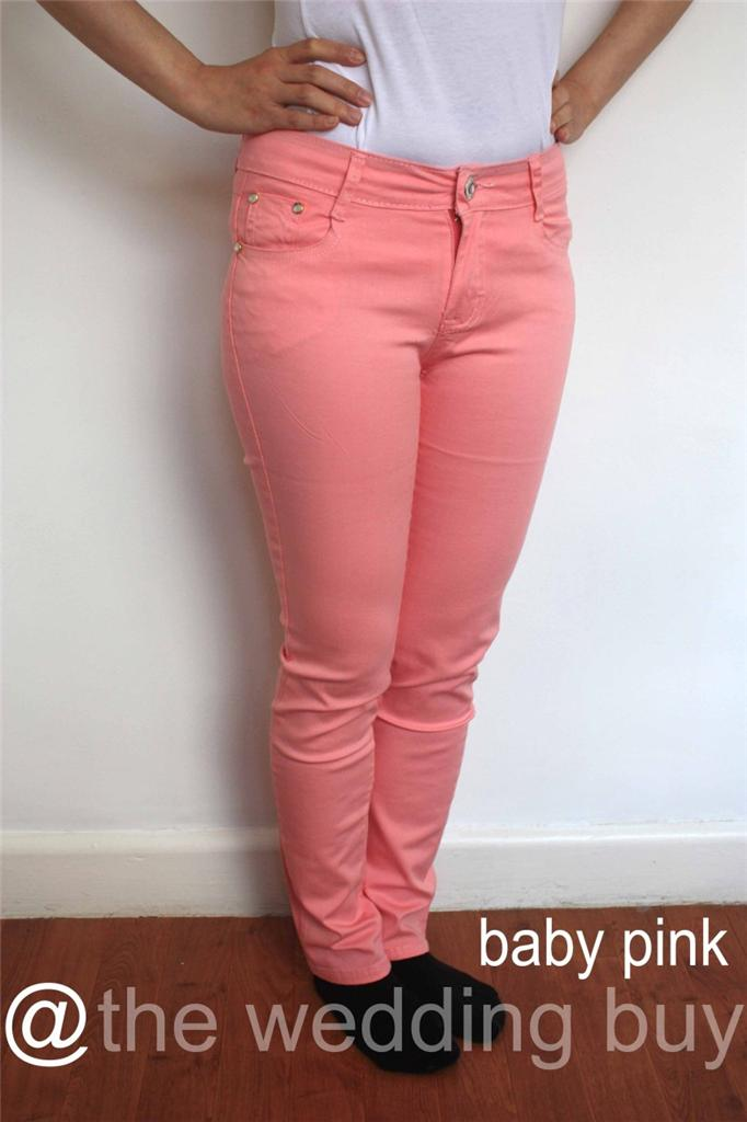 LADIES SKINNY SLIM FIT COLOURED STRETCH JEANS WOMENS ...
