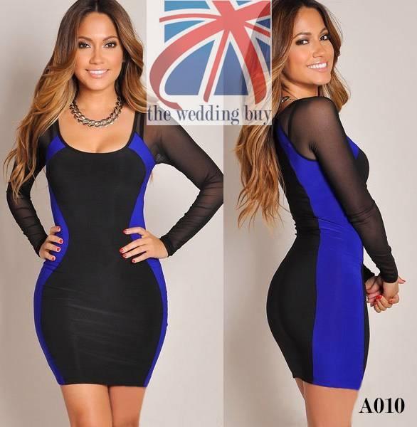 Womens-Mini-Dress-Club-Wear-Party-Evening-Sexy-Side-Stripe-Mesh-Long-Sleeve-A010