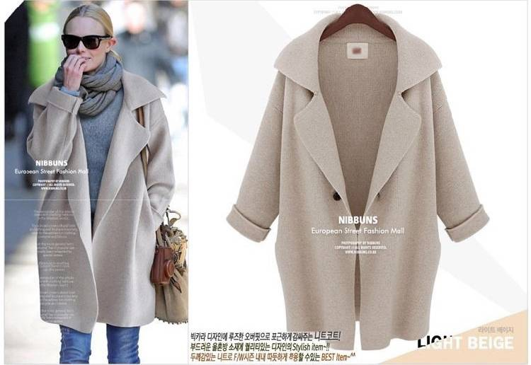UK Women 3/4 Sleeve Knitted Parka Trench Windbreaker Jacket Cardigan Coat MS001