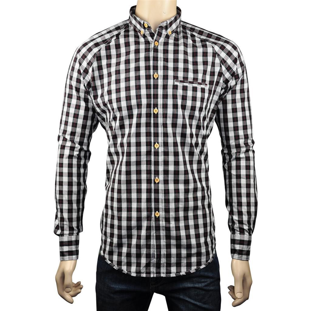 New Ben Sherman Soho Slim Fit Mens Check Shirt White