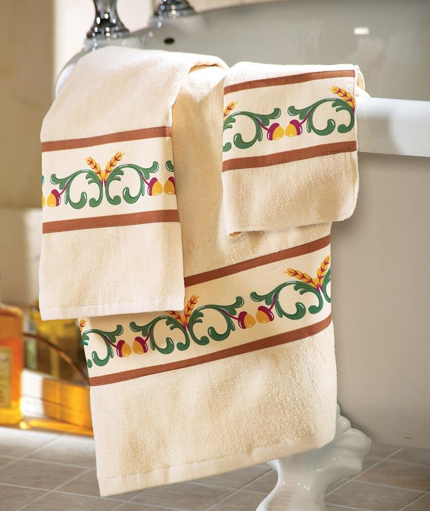 3 pc set fall autumn design decorative bathroom towel set for Fall bathroom sets