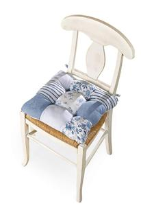 country patchwork super comfy blue and white chair pad cushions new