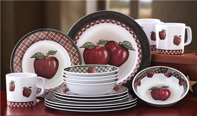 Country apple decor 16 pc melamine dinnerware dish set new for Apple kitchen decoration set