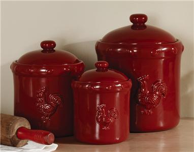 Country Decor Rustic Red Rooster Ceramic Kitchen Canister