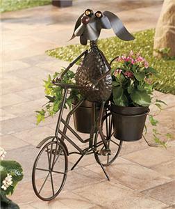Metal Dog Riding A Bike Planter W 2 Pots Outdoor Gardening Decor Planter New