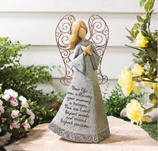 Lovely loved one 39 s memorial garden angel lawn art statue ebay for Garden memorials for loved ones