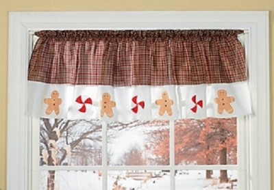Country christmas gingerbread men peppermints kitchen window valance new ebay - Country kitchen valances for windows ...