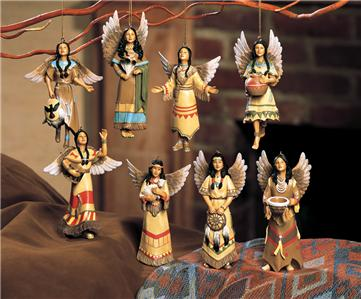 8 pc native american maiden angel christmas tree ornament for American style christmas decorations