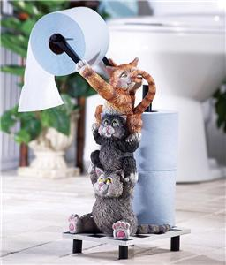 Whimsical playful kitty cats bathroom toilet paper holder Animal toilet paper holder