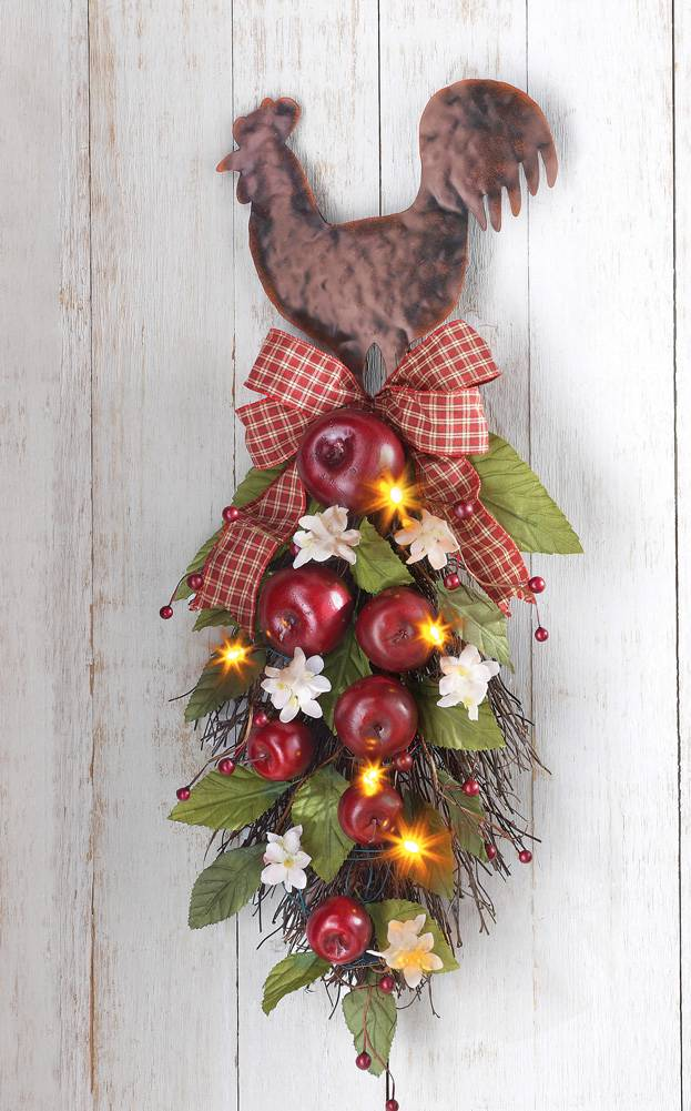 Lighted country rooster with apples hanging kitchen wall - Rooster wall decor kitchen ...