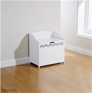 Laundry Bathroom Clothes Towels Hamper Basket W Storage Bench Shelf White