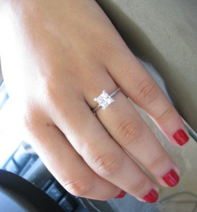 Click to open supersize image  1.5 Carat Princess Cut Solitaire Engagement Rings