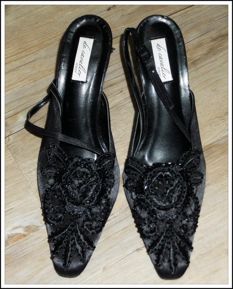 149 de cavalier italy black beaded slingback heels 9