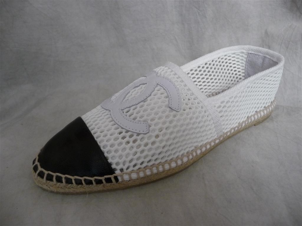 nib chanel mesh white canvas black leather cc logo shoes
