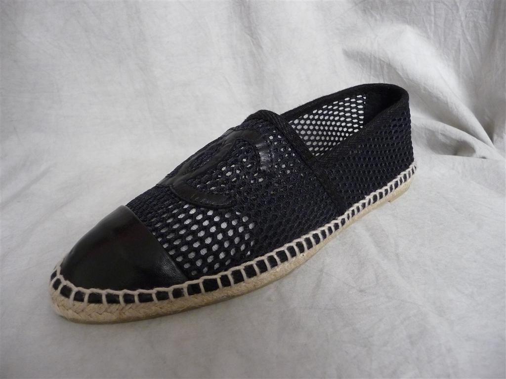 nib chanel mesh black canvas leather cc logo shoes flats