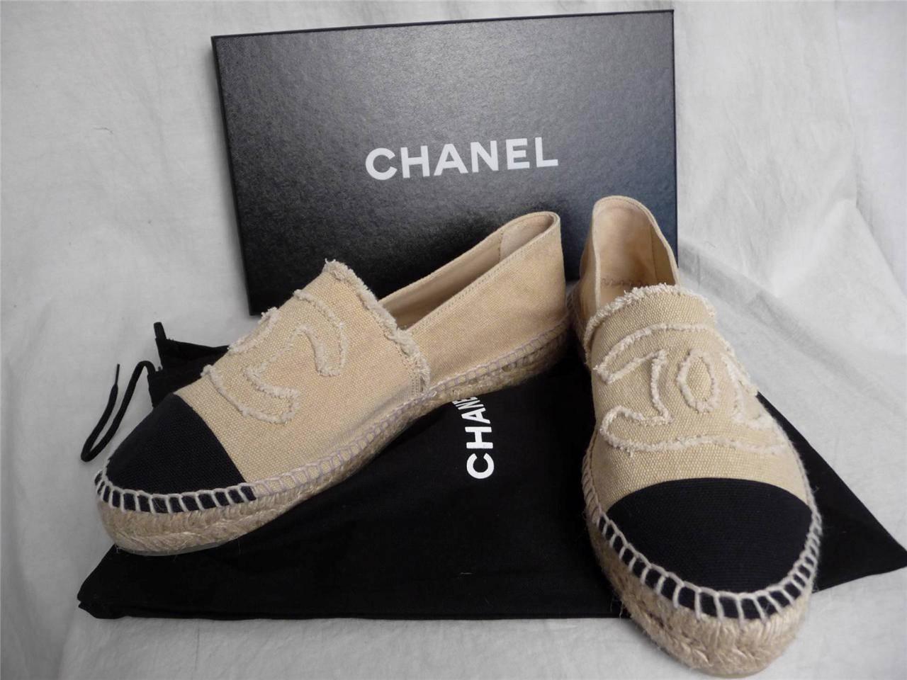 nib chanel beige platform canvas espadrilles cc shoes