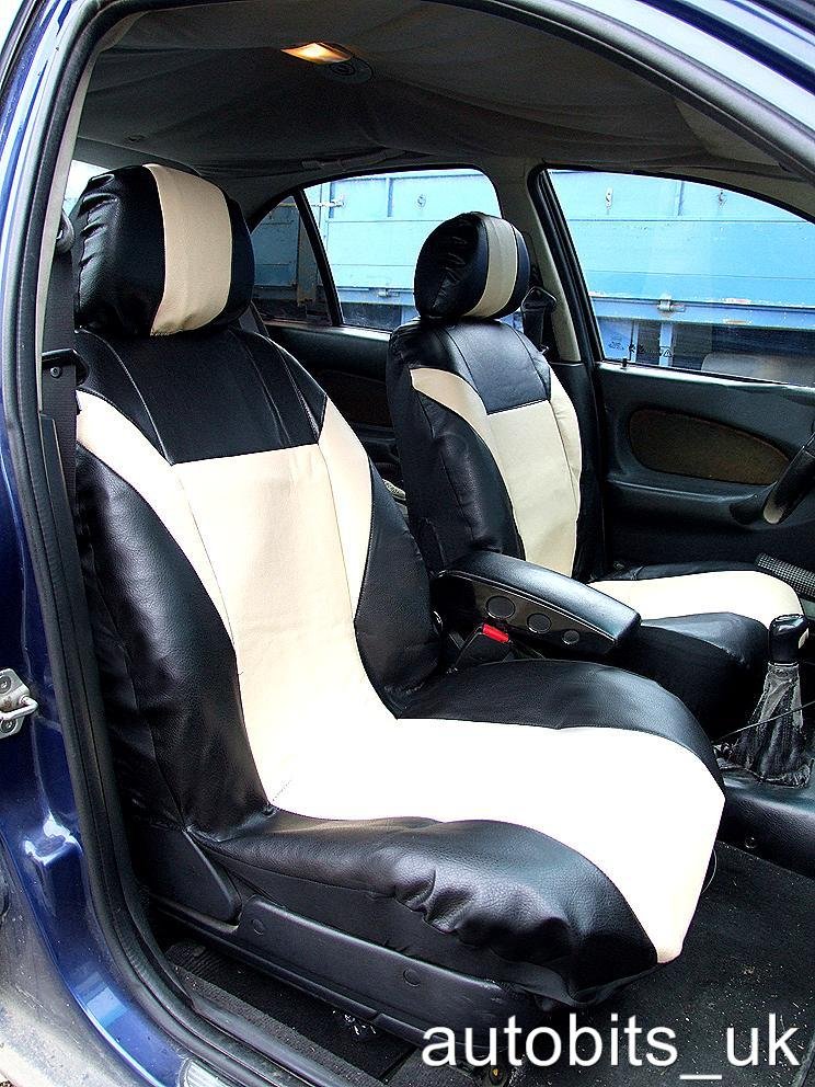 Front Leatherette Seat Covers Beige Black For Bmw 1 3 5 7