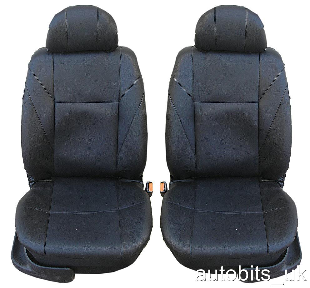 Image Is Loading 1 1 FRONT PU LEATHER BLACK SEAT COVERS