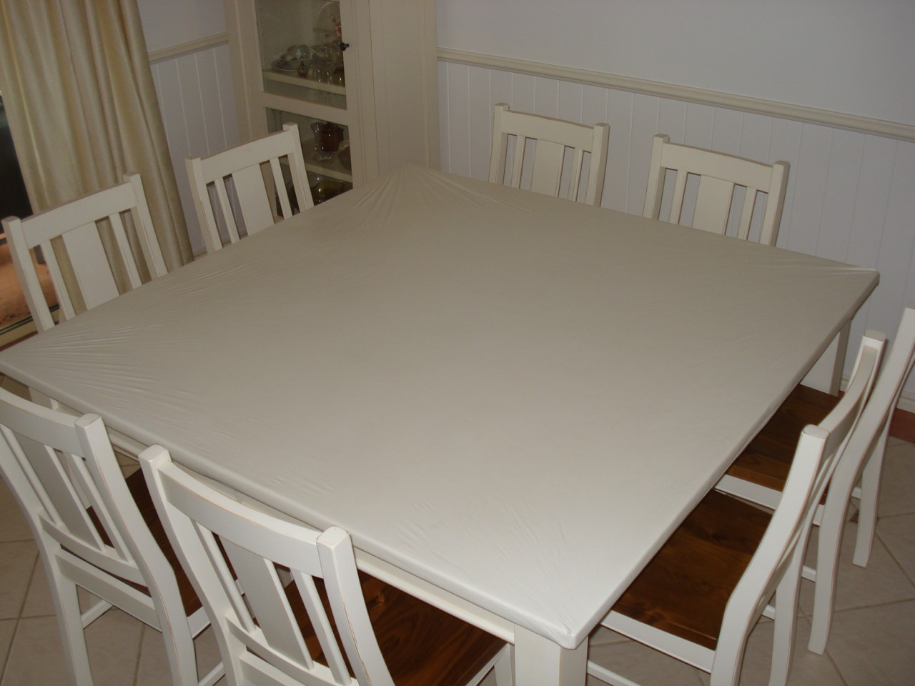 Square 150cm Kitchen Living Dining Table Top Protector Cover White
