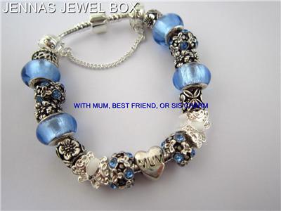 MUM, BEST FRIEND OR SIS CHARM BRACELET 20cms BLUE