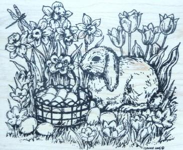 Northwoods Rubber Stamp Easter Bunny Scene Hiding Eggs