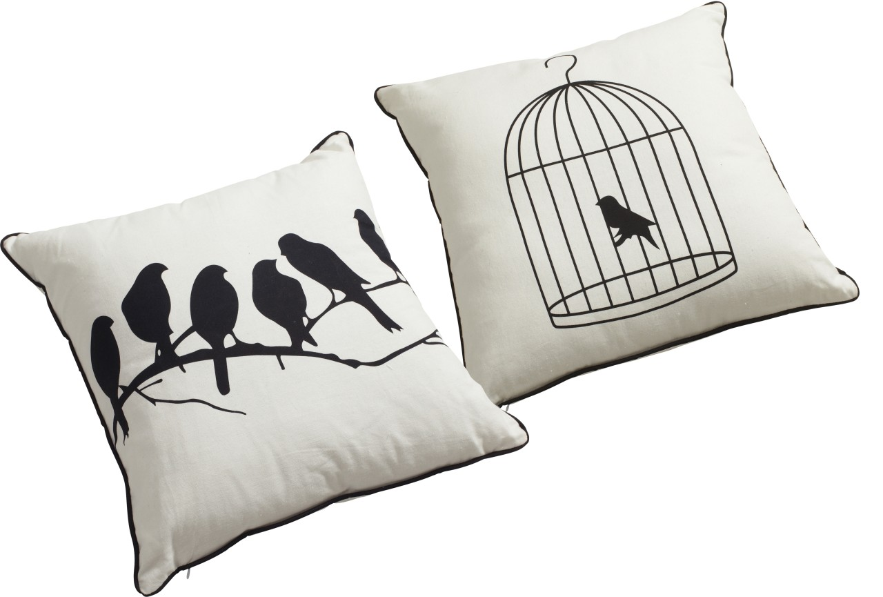 New-SET-OF-2-Bird-Cushions-45cm-Cream-Birds-Design-French-Chic-SUPERB-QUALITY