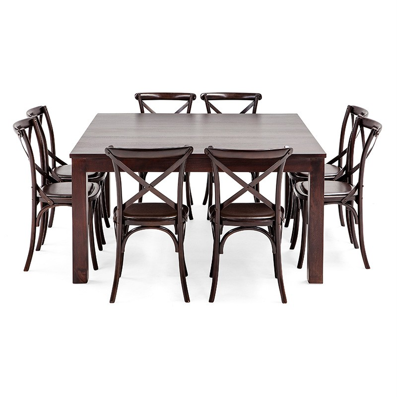 Chocolate solid wooden timber square table 8 rustic chairs for Square dining table for 8