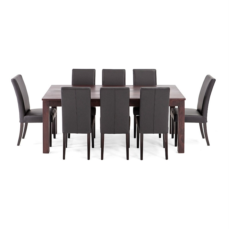 Chocolate solid timber wooden table 8 genuine leather for Genuine leather dining room chairs