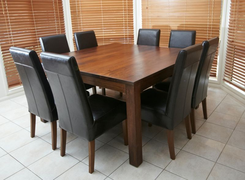 Solid wooden timber square table 8 black leather chairs 9 for Square dining table for 8