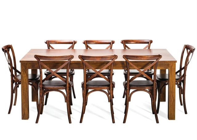 NEW Solid Wooden Timber Table 8 Rustic Chairs 9 Piece Dining Setting Package