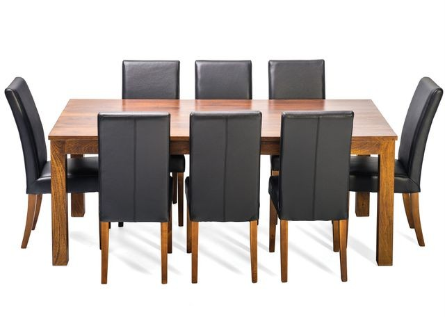 Balinese solid wood timber table 8 genuine 100 leather for Genuine leather dining room chairs