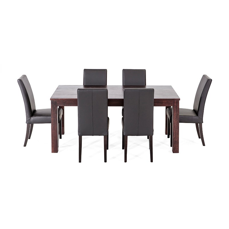 Chocolate solid timber table 6 genuine leather chairs 7 for Genuine leather dining room chairs