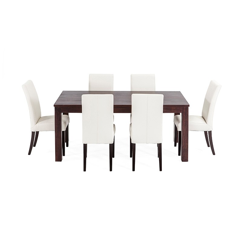 Chocolate Solid Timber Table 6 Genuine White Leather