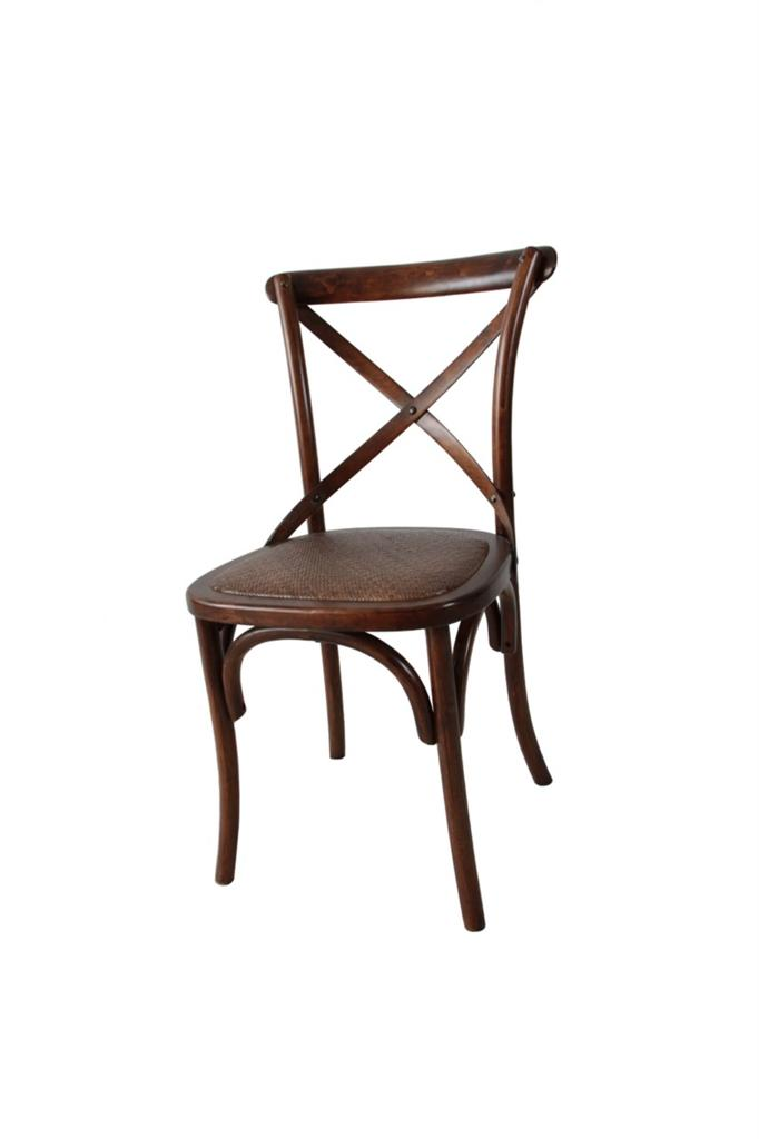 NEW Noosa Oak Brown French Bistro Style Timber Cross Back Dining Chair