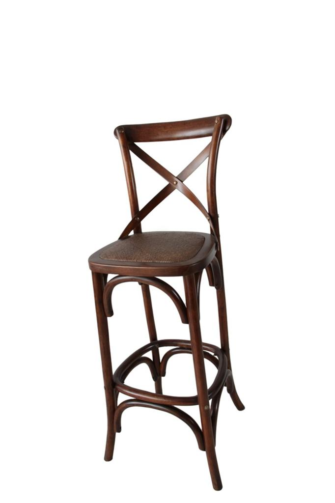 New noosa oak toffee french bistro style timber cross back bar stool chair ebay - French bistro barstools ...
