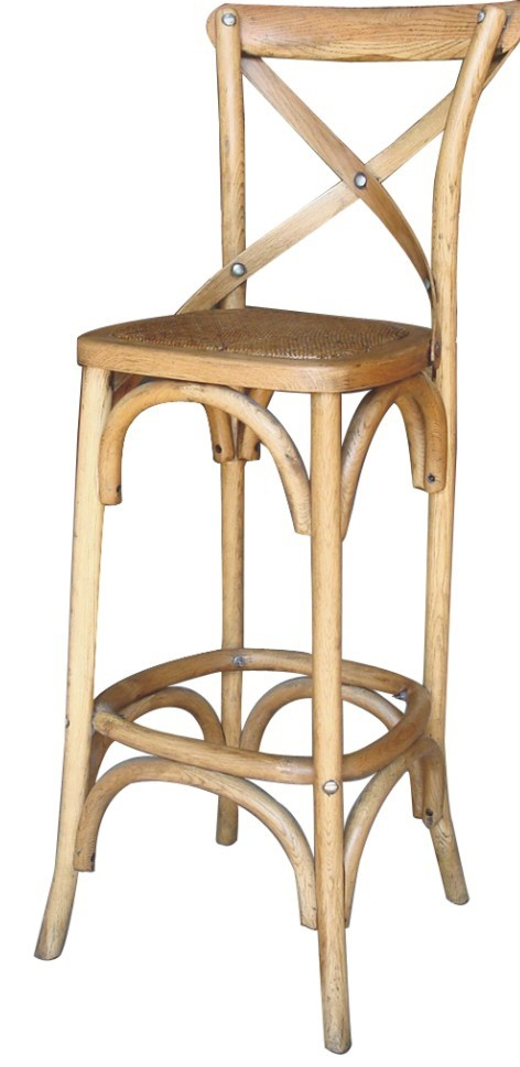 New noosa oak french bistro style timber cross back bar stool kitchen chair ebay - French bistro barstools ...