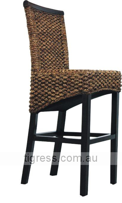 new tahiti bali balinese water hyacinth wicker rattan bar stool kitchen chair ebay. Black Bedroom Furniture Sets. Home Design Ideas