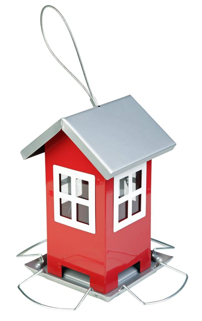 New-Cute-Red-Country-House-Metal-Hanging-Garden-Bird-Feeder